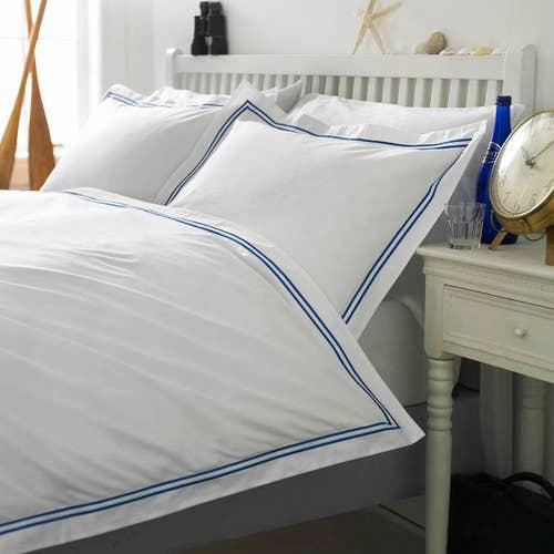 Colección Boutique doble cordón 400 Hilos Algodón Egipcio Percal - Cordón Azul - Funda de edredón