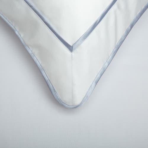 550 Hilos Algodón Egipcio Satén Colección Mónaco - Borde  Azul Platino - Funda de almohada con marco