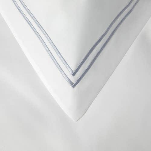 Colección Boutique doble cordón 400 Hilos Algodón Egipcio Percal - Cordón Gris - Funda de almohada