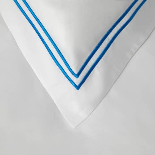 Colección Boutique doble cordón 400 Hilos Algodón Egipcio Percal - Cordón Azul - Funda de almohada