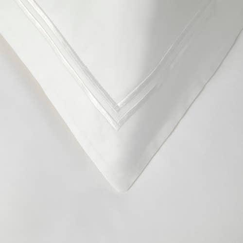 Colección Boutique doble cordón 400 Hilos Algodón Egipcio Percal - Cordón Blanco - Funda de almohada