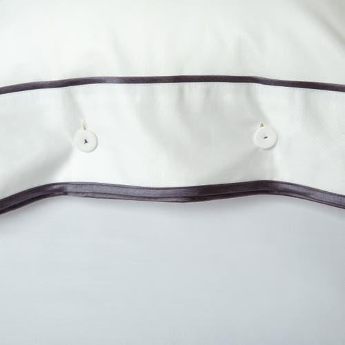 550 Hilos Algodón Egipcio Satén Colección Mónaco - Borde Gris Antracita - Funda de almohada con Botones