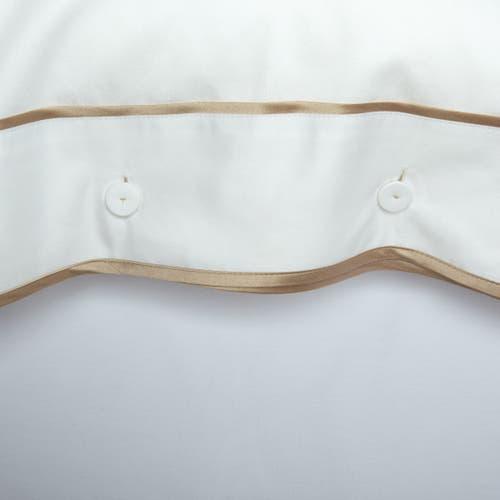 550 Hilos Algodón Egipcio Satén Colección Mónaco - Borde Beige - Funda de almohada con Botones
