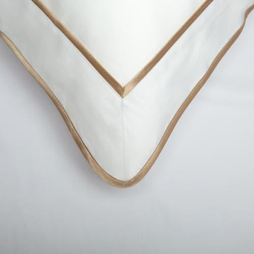 550 Hilos Algodón Egipcio Satén Colección Mónaco - Borde Beige - Funda de almohada con marco