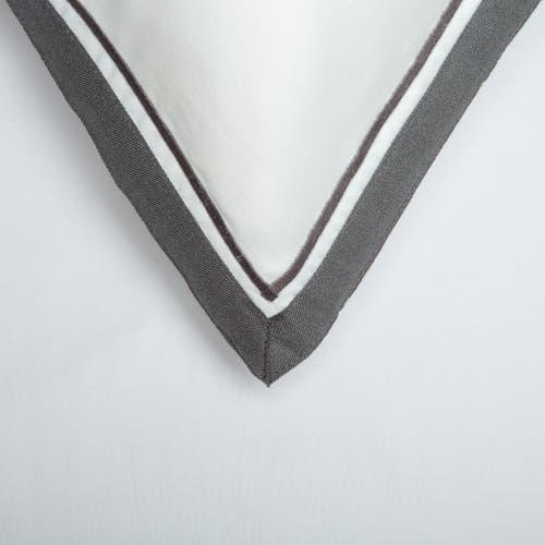 Colección Bolonia 300 Hilos Puro Algodón  Satén - Blanco con Borde Gris - Funda de almohada