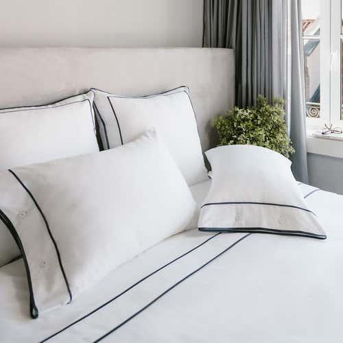 Ropa de cama Monaco 550 Hilos Satén Algodón Egipcio- Borde Gris Antracita