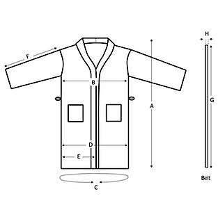 Kimono Bathrobe Sizes Diagram