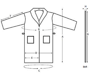Shawl Bathrobe Sizes Diagram